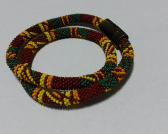 Hand-made bead crochet african necklace