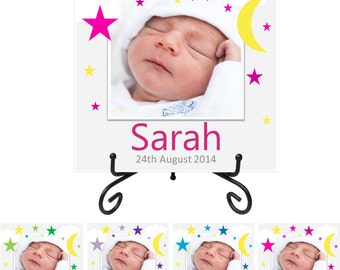 Personalised Photo - Baby's Name & Birth Date Plaque - Moon and Stars - Keepsake Gift - Birth Announcement