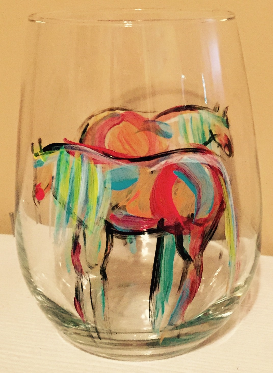 Wine glasses hand painted horse lovers wine gift stemless for Painted stemless wine glasses