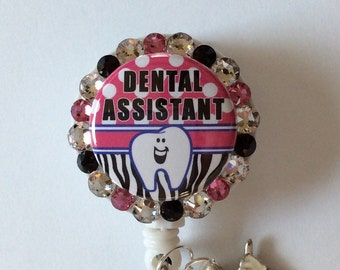 Dental Assistant Decorative Badge/ID Holder with Charms/Beads