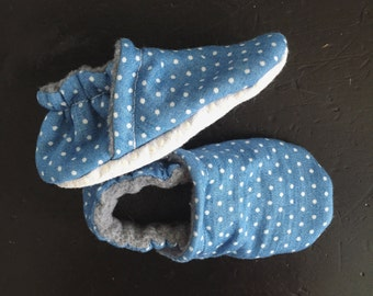 Denim Polka Dot Booties