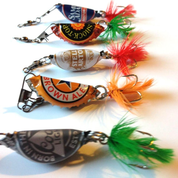 Beer Bottle Cap Fishing Lures, Gifts for Men, Groomsmen gift, Bottle cap Lures, Ushers Gift, Fathers Day Gift