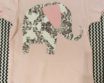 Baby girl damask and pink elephant onesie