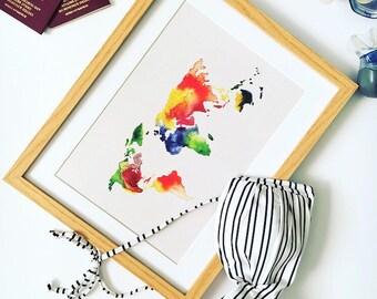 World map watercolour print, boyfriend girlfriend gift