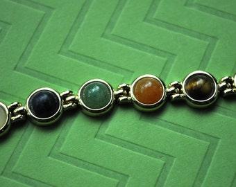Vintage Multi Colored Stone Bracelet, Gold Tone, Multi Color Bracelet, Multi Stone Bracelet, Vintage Bracelet, 7.25 inches GS637