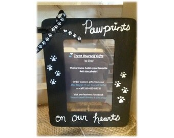 Pawprints On Our Hearts Painted Frame