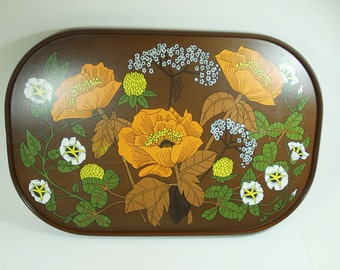 St Michael M & S Retro Melamine Brown Poppy Tray, 70's Tray, Flower PowerTray, Poppy Floral.