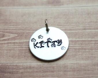 Hand Stamped Pet Name Tag, Cat Tag, Pet Tag, Pet's Name Tag, Personalized Name Tag, Cat prints Dog Prints Dog Name Tag Dog ID tag Cat ID tag