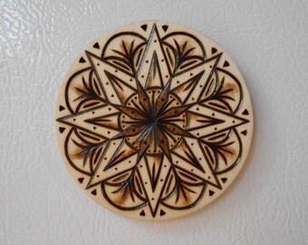 "3"" Star Mandala Magnet - Pyrography Art, Wood Burned Magnet, Bohemian Mandala, Sacred Geometry Mandala, Wood Magnet"