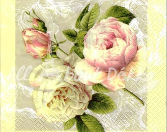 Decoupage Napkins Set of 4 - Vintage Flowers, Roses, Spring, Collage of 4 Paper Napkin, Serviettes, Scrapbooking, Mixed Media Supplies