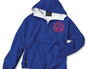 Charles River Fourth Zip Pull Over Rain Jacket With Embroidered Monogram