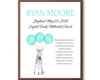 Godson Baptism Gift - Godson Christening Art Gift - Baby Blue - Baptism Art Gift - Baby Baptism Gift