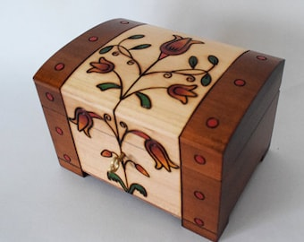 Handmade Wooden Chest/Jewellery Box/Keepsake Box/ Box with Tulip/ Lockable Wooden Chest/ Carved wooden box