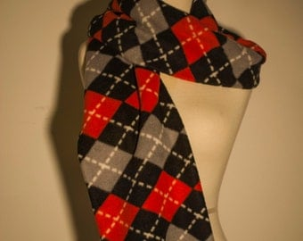 Red, Black and Gray plaid scarf