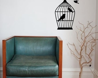 Bird Cage And Birds Vinyl Wall Decal, Bird Cage and Birds Decal
