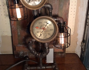 Steampunk Machine Age Double Brass Gauge Table Lamp