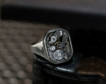 Industrial Signet Ring - 'SLIM SIR' - Watch Ring, Sterling Silver 925, Mechanical, Statement, Unique Ring, Men's, Women's, Unisex