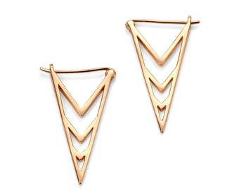 Rose Gold plated silver triangle earrings