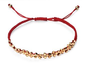 Gold charm bracelet, adjustable red string bracelet, gold beads
