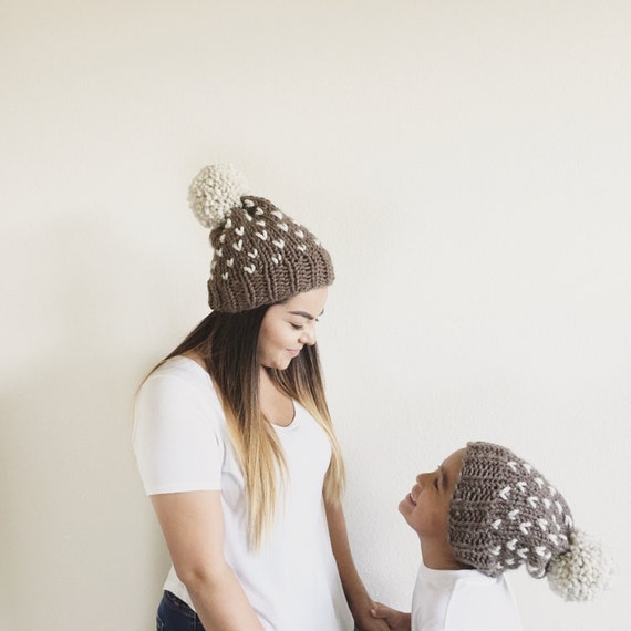 Knit Slouchy Newborn-toddler-kids Baby Beanie Hat With Large Pom Pom//THE TUMBLEWEED//Fisherman and Taupe