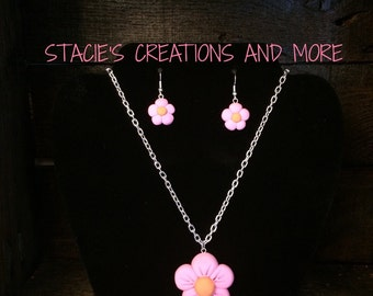 Flower OR Dew Drop Necklace and Earrings