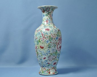 Old Chinese porcelain mille-fleur gold vase 民国百花瓶