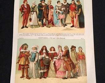 Costumes of the 16th 17th and 18th Centuries, Vintage Fashion Print, 19th Century Color Lithograph
