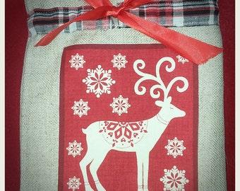 Christmas present bag, deer, Scandi design, fully lined, drawstring