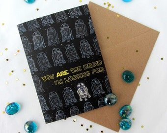 R2D2 Valentines - Anniversary - Birthday - Encouragement - Friend. A6 Star Wars card