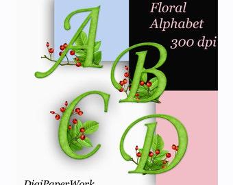 Digital Alphabet, floral alphabet felt alphabet flower clipart alphabet twig Digital alphabet Monogram Flowers ABC