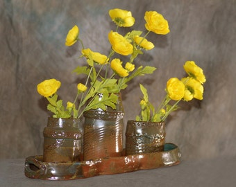 Four Piece Tray and Vase Set