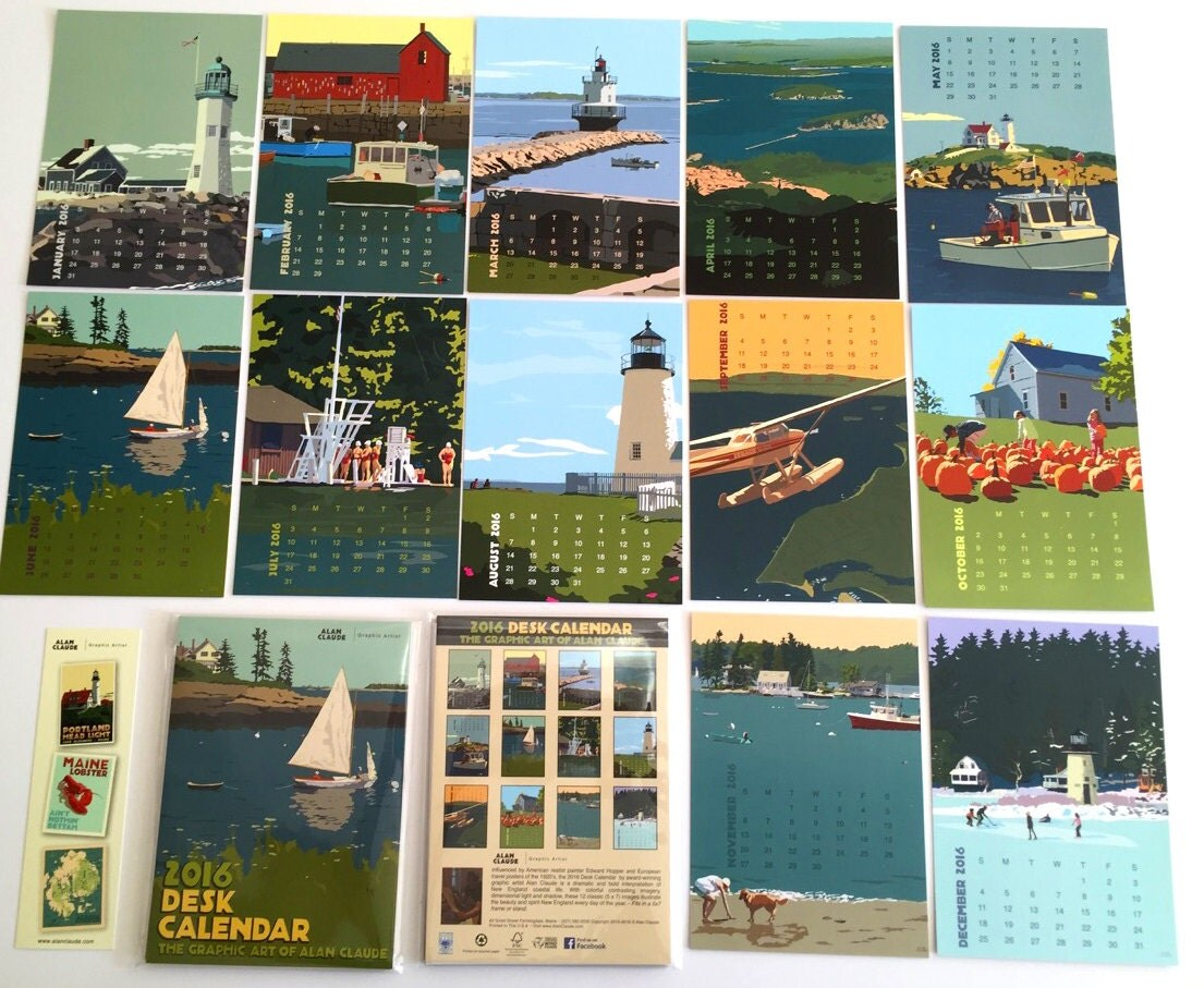 Art Calendar Maine : Calendar desk size art of maine and new england by