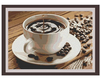 The Coffee Cup Counted Cross Stitch Pattern. Pattern. PDF Instant Download. Wall Decor. Art. Cross Stitch Pattern