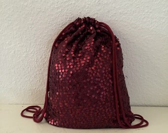 Blogger gym bags of new Bordeaux glitter sequins