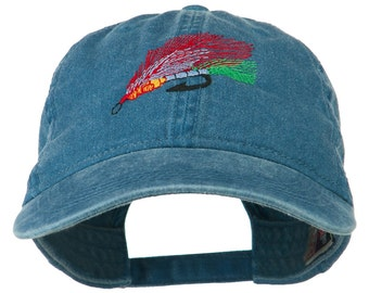 Fishing Fly Embroidered Washed Cap