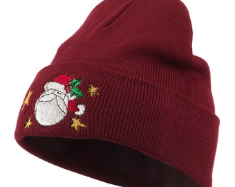 Santa Claus with Stars Embroidered Beanie