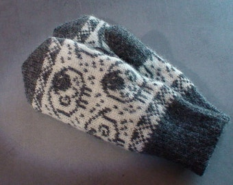 Sheep mittens, knitted wool mittens, double, warm mittens, excellent gift