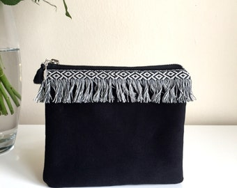 Black Cosmetic Bag,Black Canvas Zippered Pouch,Fringe Make up bag,canvas boho mini bag,Boho zipper pouch,Fringe zipper pouch,Coin purse