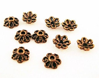 CC03 - Caps form of Fleur 6 mm X 2.8 mm Bronze / Bronze 6 x 2.8 mm Flower Bead Caps