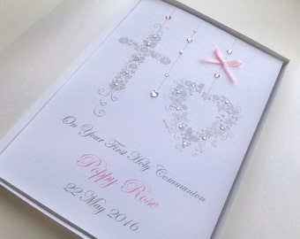 Christening Baptism First Holly Communion Card Handmade Personalised  Keepsake Boxed or Envelope Pink Blue Boy Girl