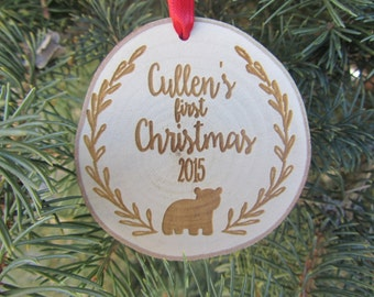 Baby's First Christmas Ornament | Personalized Wood Christmas Ornament
