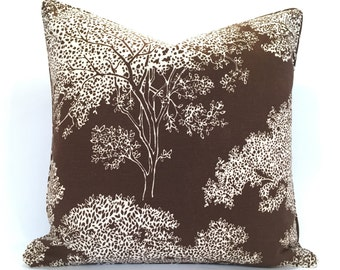 Graphic Illustrated Tree Pillow Cover in Deep Brown and Crisp Ivory