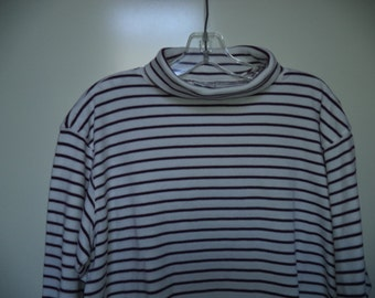 """90s striped mock turtleneck// Vintage """"Chic"""" cozy soft cotton top// Minimalist hipster boxy pullover shirt// Women's size small medium large"""