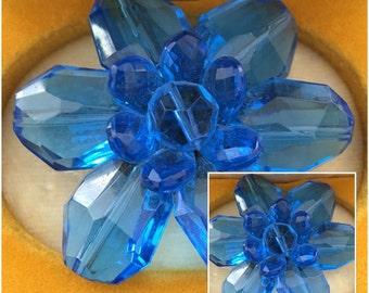 Vintage Beautiful Big Blue Flower Brooch - Germany