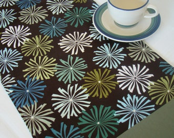"Table Runner/Modern Table Runner/Retro Table Runner/Table Runner Handmade/Coffee Table Runner/47"" 54"" Table Runner/Brown Table Runner/Flower"