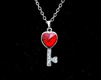 SALE - Key Heart Necklace, Key Necklace, Red Heart Necklace, Love Necklace, Love Jewelry, Key Charm Necklace, Love Necklace, Key Jewelry