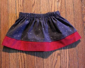 Gray & Red Corduroy Skirt
