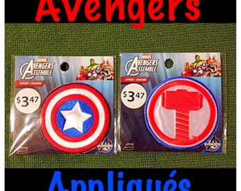 2 Packs of Simplicity Appliqués, Marvel Avengers Iron On Patches / Appliques, Thor and Captain America.