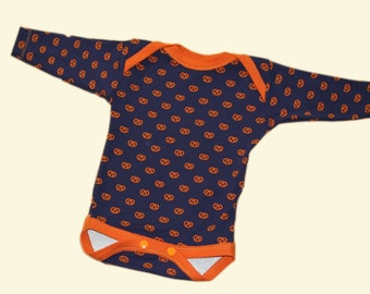 organic cotton bodysuit with printed pretzels
