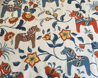 Tablecloth sweden horse, blue orange brown, red yellow flower, blue leaves Scandinavian desing